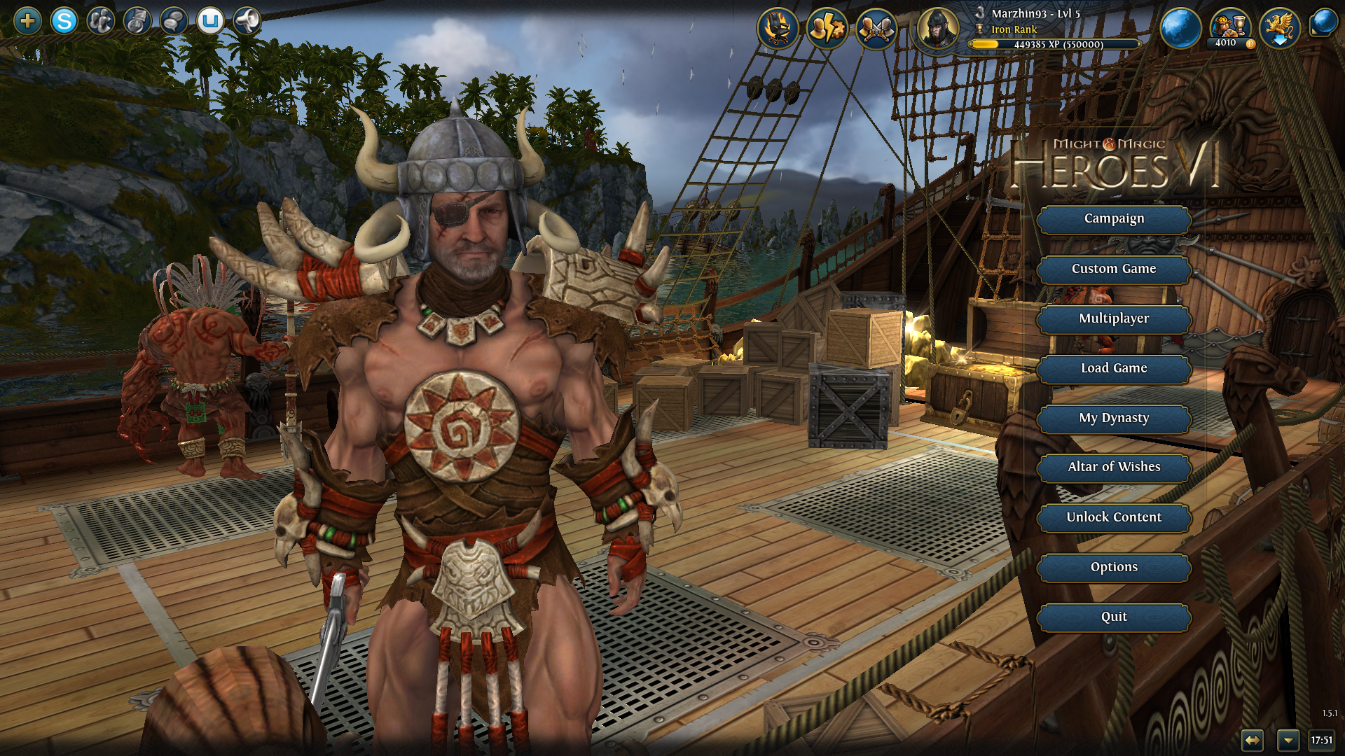 Might & Magic: Heroes VI - Pirates of the Savage Sea Windows New main menu screen, featuring Crag Hack himself.