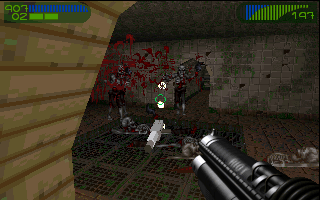Last Rites DOS A fully upgraded Shredded cannon makes short work of tough gray zombies.
