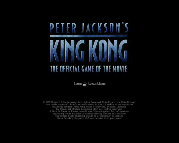 Peter Jackson's King Kong: The Official Game of the Movie Xbox 360 Title screen