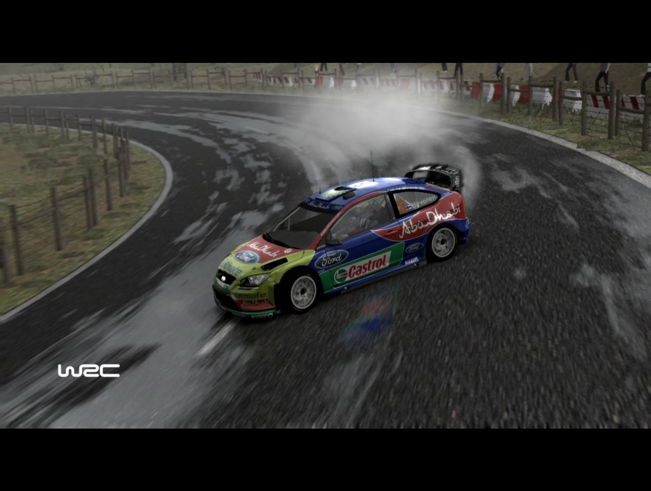 WRC FIA World Rally Championship Windows Hirvonen on French wet asphalt.