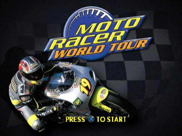 Moto Racer World Tour PlayStation Title screen.