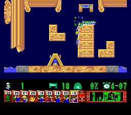 Lemmings TurboGrafx CD The blocker holds the others while they try to carefully fall through