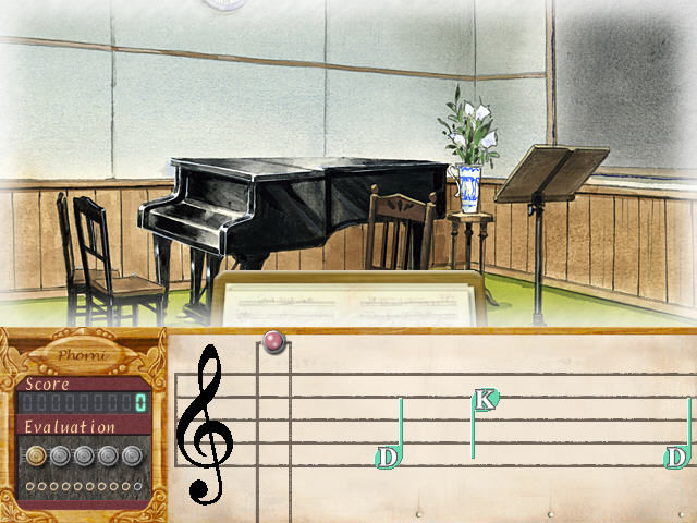 Symphonic Rain Windows Rhythm game in the piano room