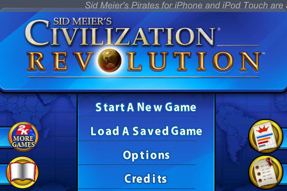 Sid Meier's Civilization: Revolution iPhone Main menu