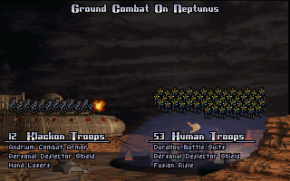 Master of Orion DOS Ground combat is mostly a numbers game.