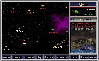 Master of Orion DOS Main galaxy screen