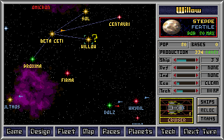 Master of Orion DOS Established colony with resource bars