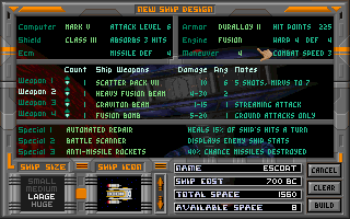 Master of Orion DOS Ship design interface