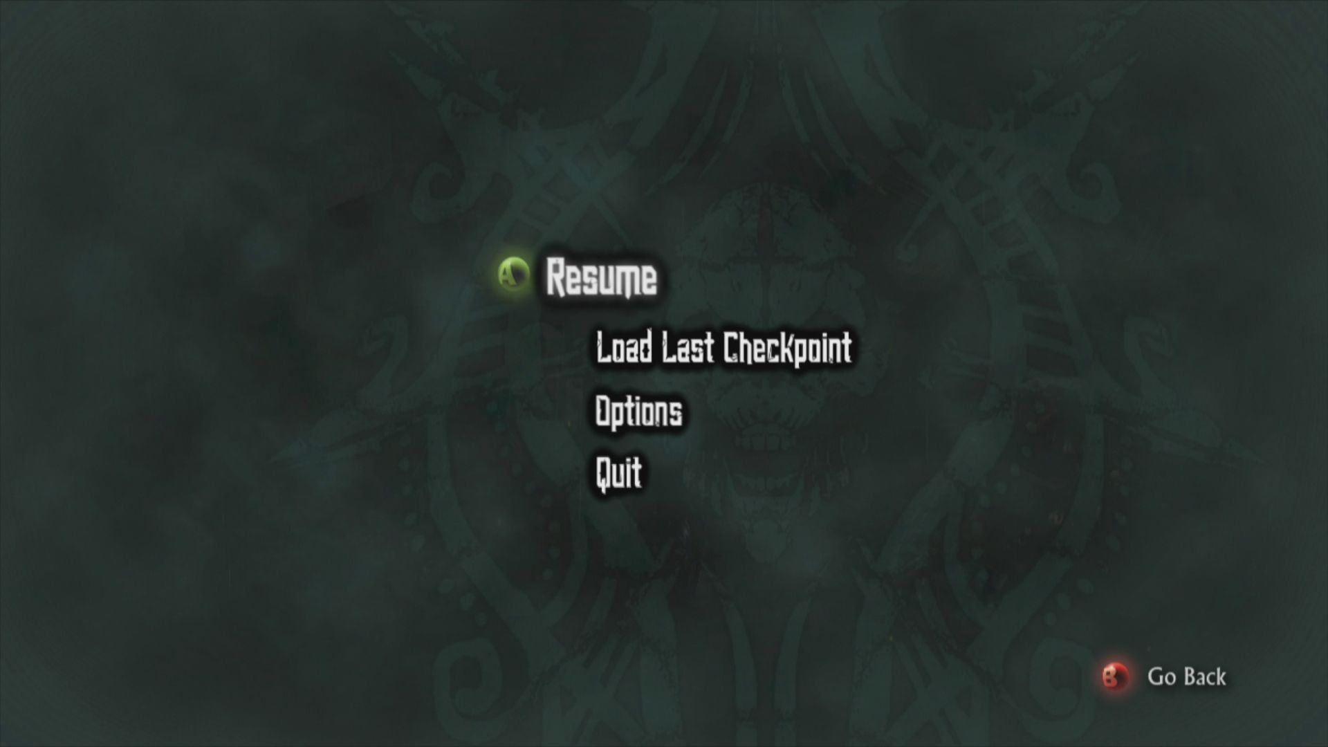 Hunted: The Demon's Forge Xbox 360 Ingame Menu