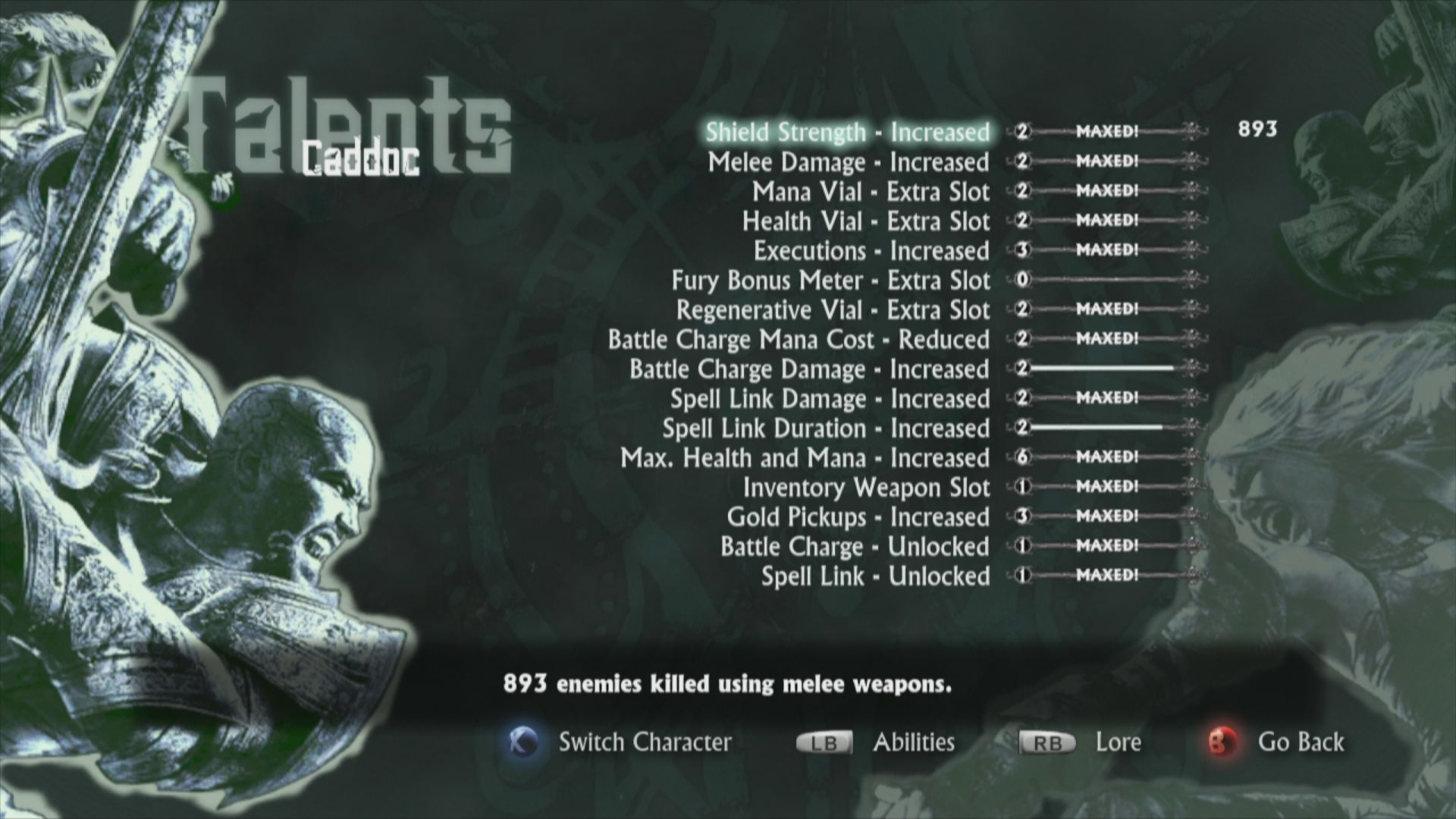 Hunted: The Demon's Forge Xbox 360 Character Talents