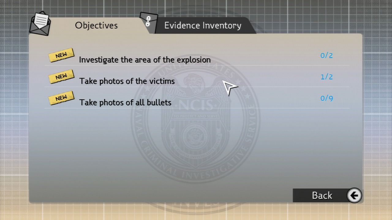 NCIS PlayStation 3 When you're stuck, check the list of objectives and see what's still missing.