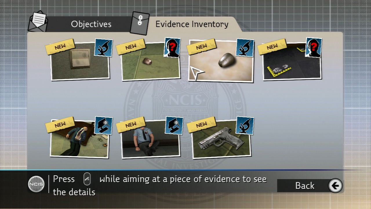 NCIS PlayStation 3 Inventory of collected evidence.