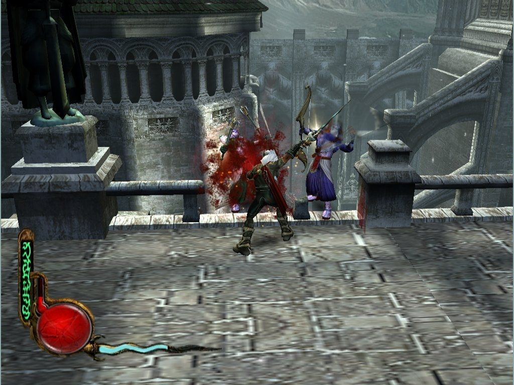 Legacy of Kain: Defiance Windows Defiance lets you interact with and break down most of the scenery... like that railing behind the Sarafan warriors... there WAS one.