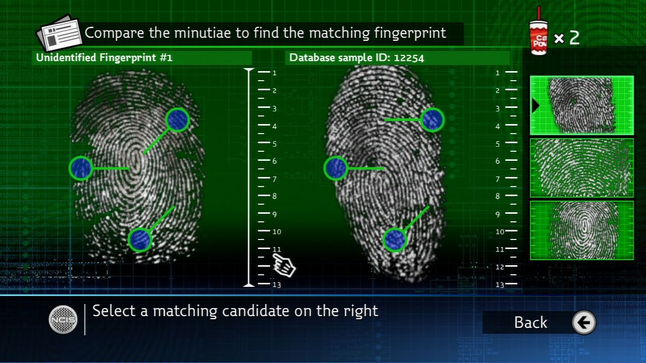 NCIS PlayStation 3 Fingerprint comparison.