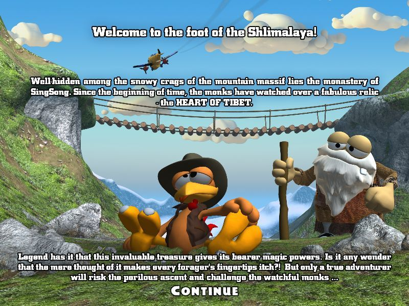 Crazy Chicken: Heart of Tibet Windows Intro screen