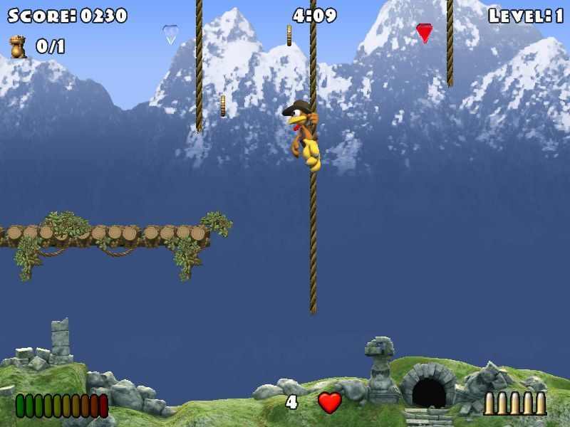 Crazy Chicken: Heart of Tibet Windows Level 1, rope climbing