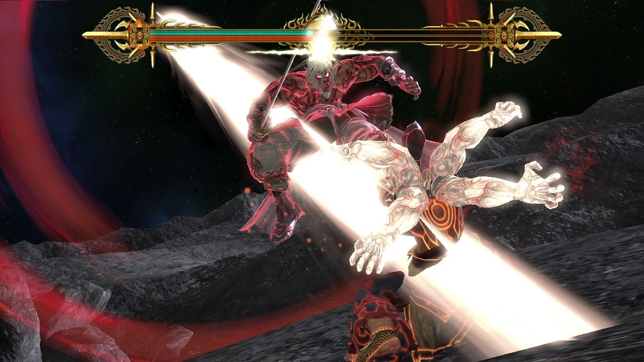 Asura's Wrath PlayStation 3 Blows exchange between Asura and his master.
