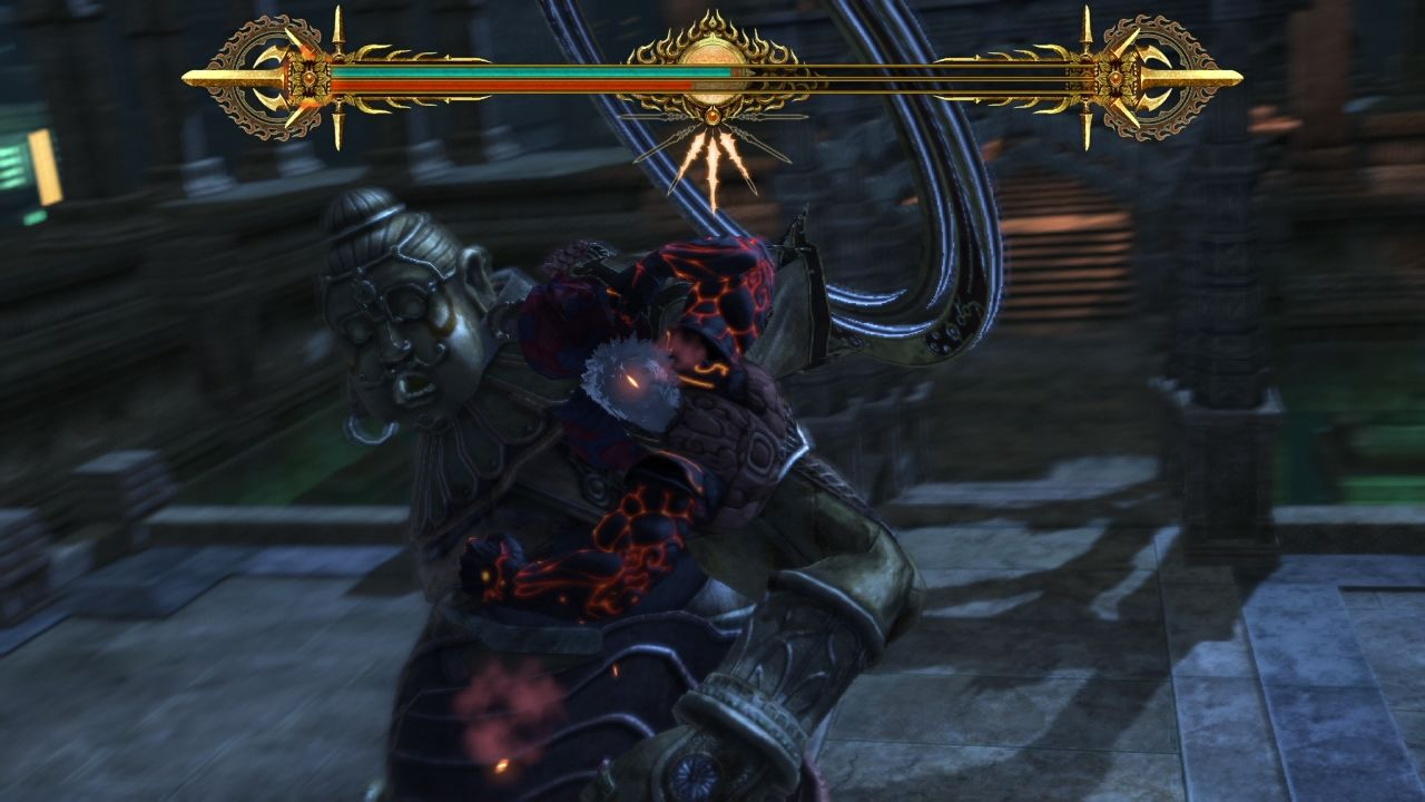 Asura's Wrath PlayStation 3 Dealing with elite Demigod soldier.