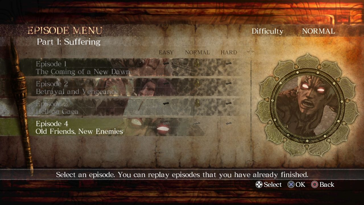Asura's Wrath PlayStation 3 Episode selection menu. The whole game is like an interactive anime series.