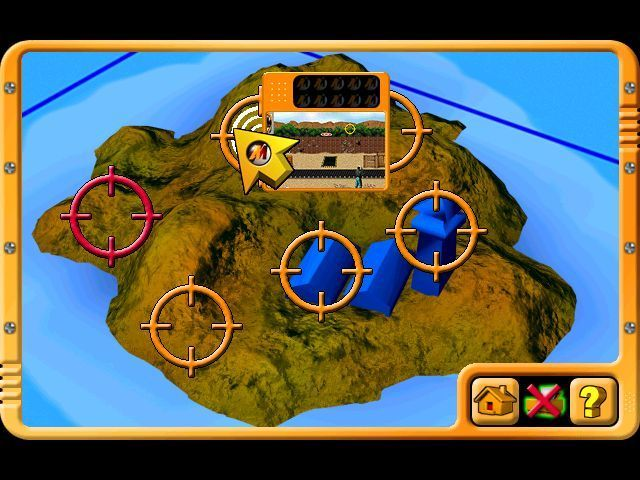 Action Man: Raid on Island X Windows The player can select the training missions in any order. When completed the target turns red. Each mission shows a picture of the task to be performed