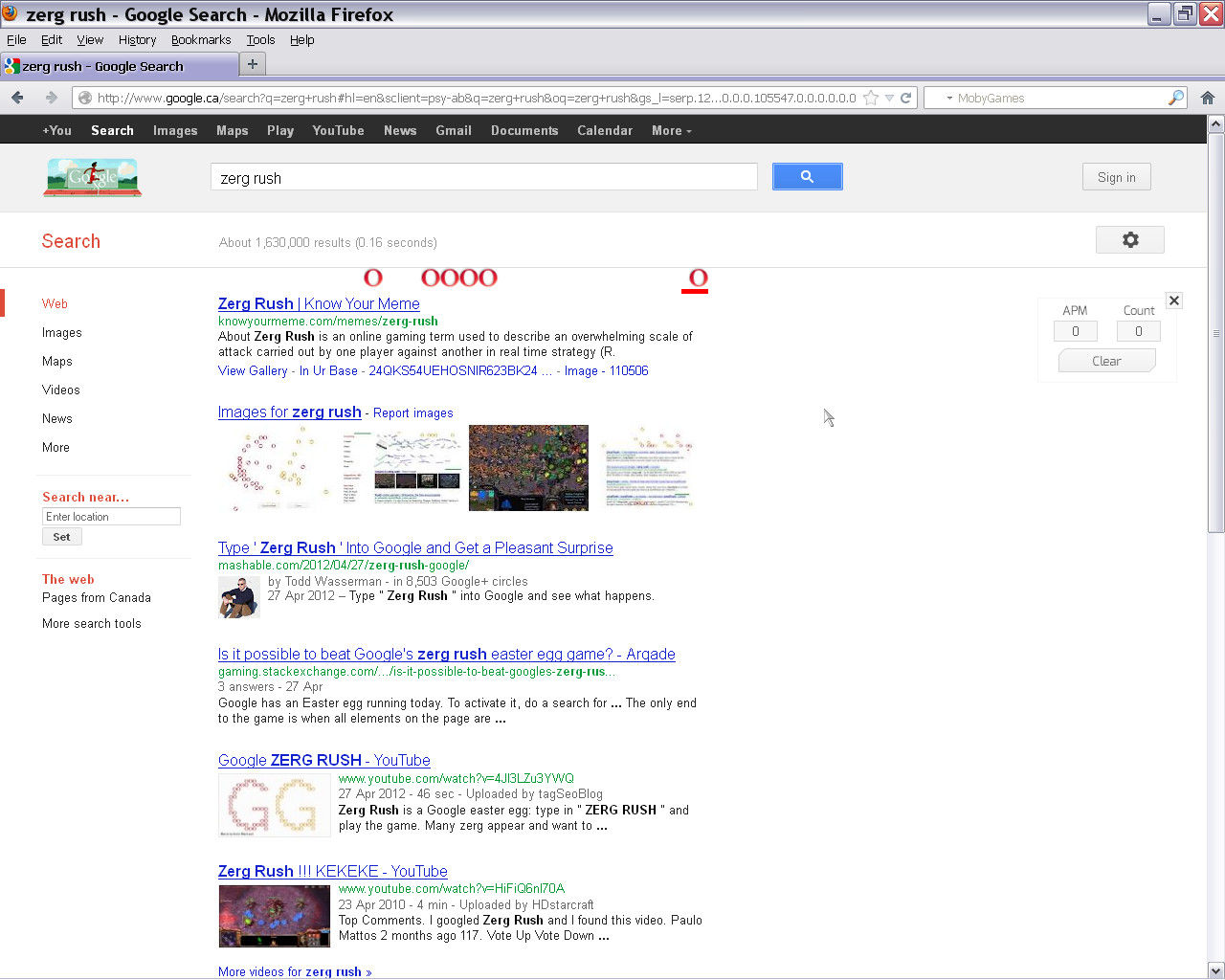 Google Zerg Rush Browser The O's have begun their assault. (Mozilla Firefox)