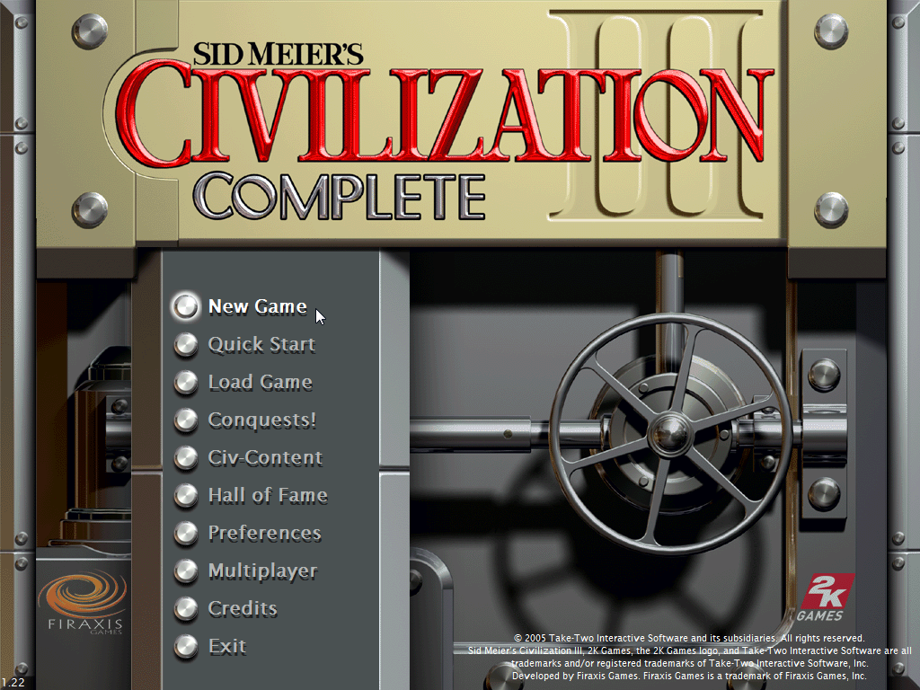 Sid Meier's Civilization III: Complete Windows Main menu