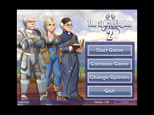 The Spirit Engine II Windows The main menu screen reflects the last used party and the last location you've been in