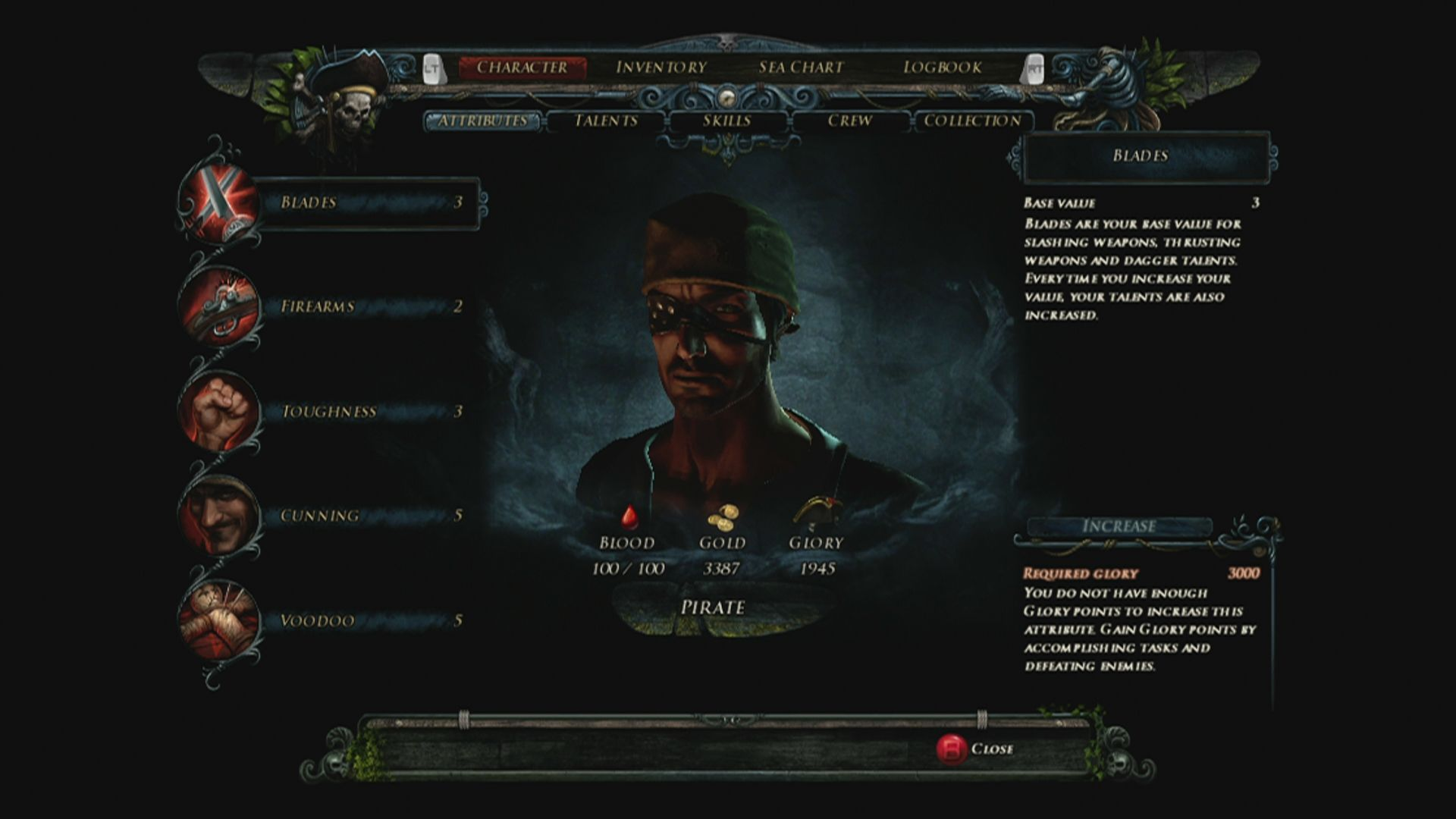 Risen 2: Dark Waters Xbox 360 Character attribute screen