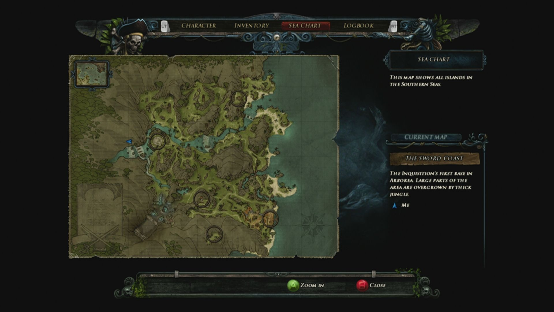 Risen 2: Dark Waters Xbox 360 Map of the current area including fast travel spots