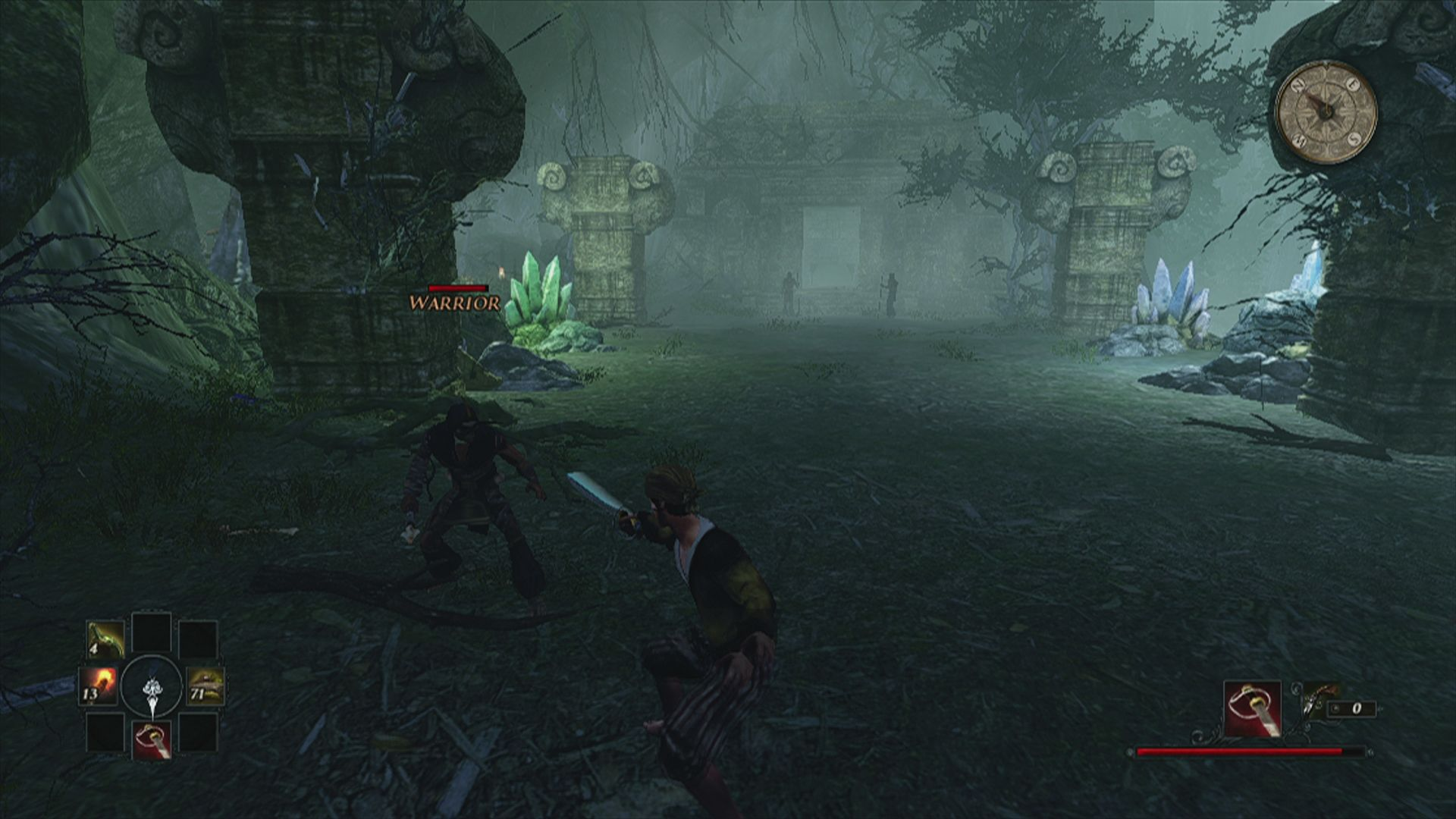 Risen 2: Dark Waters Xbox 360 Combat is mostly button smashing, life of the opponents is displayed as a red bar above the head.