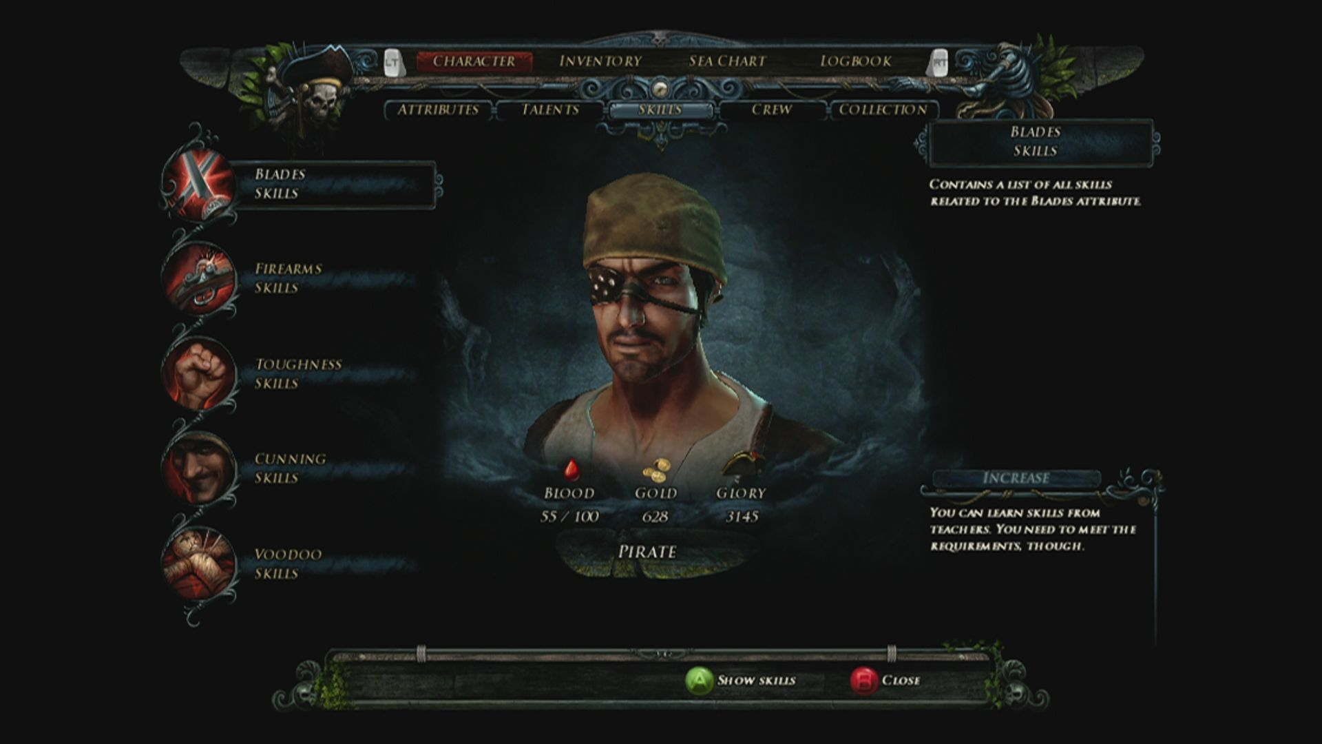 Risen 2: Dark Waters Xbox 360 Skill screen