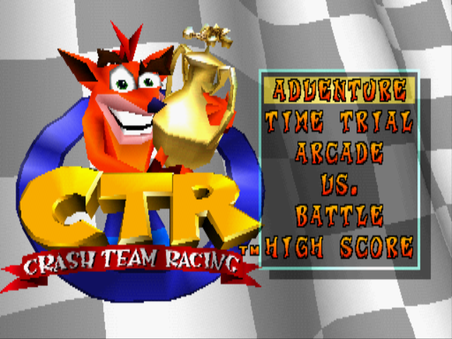 CTR: Crash Team Racing PlayStation Main menu
