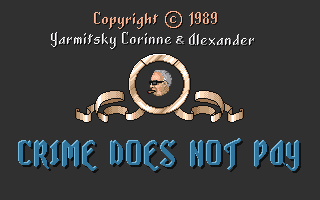 Crime Does Not Pay Amiga Title screen.