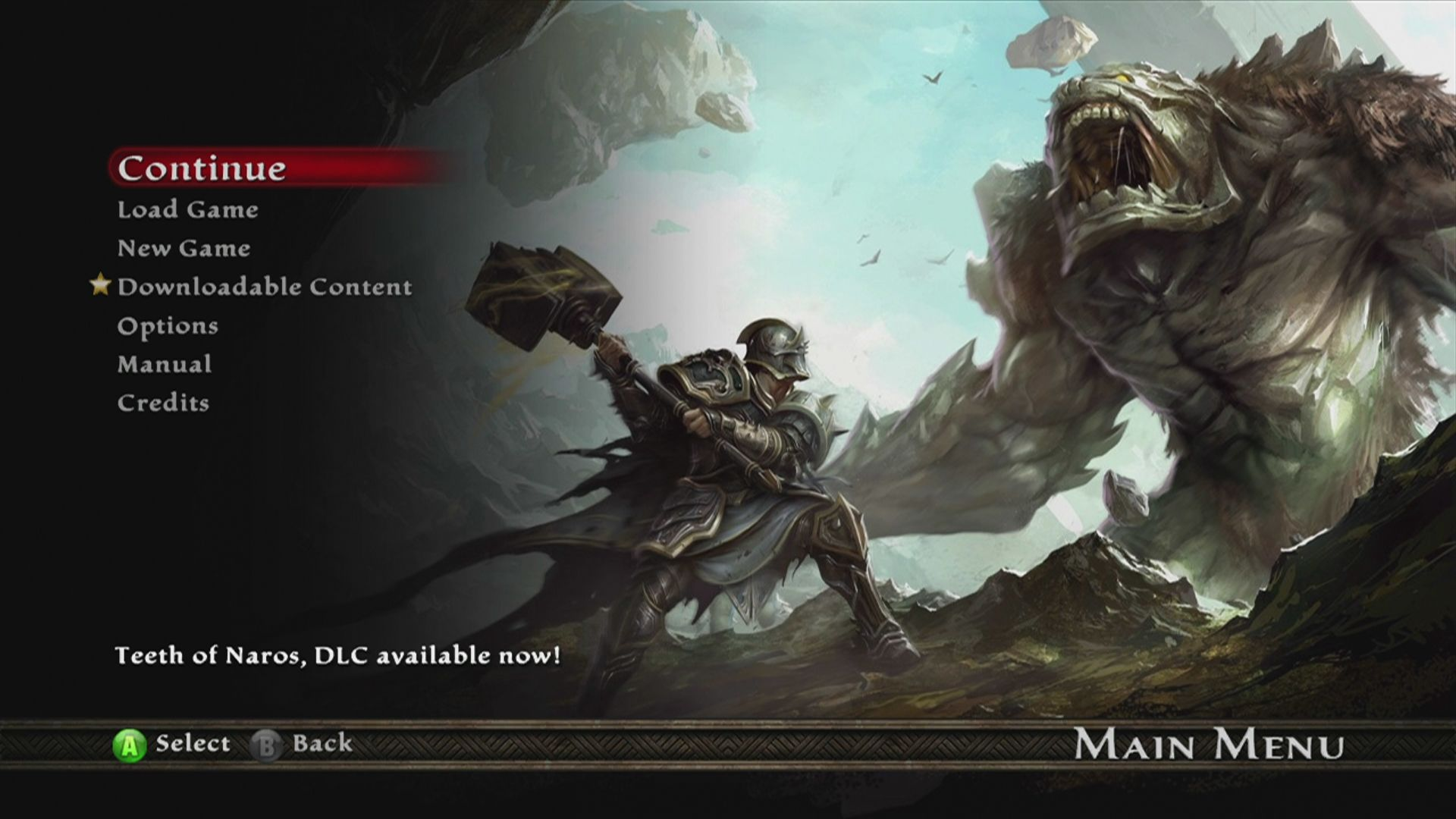 Kingdoms of Amalur: Reckoning Xbox 360 Game menu