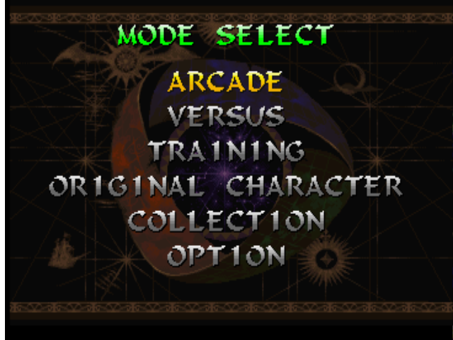 Darkstalkers 3 PlayStation Main menu