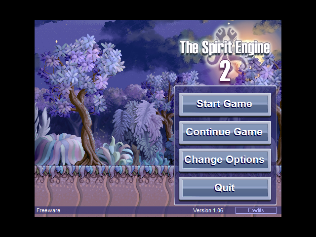 The Spirit Engine II Windows The main menu screen before you start a new game for the first time, without any characters shown.