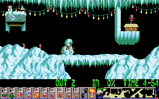 Xmas Lemmings DOS The beginning of level 1