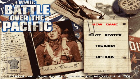 WWII: Battle Over the Pacific PSP Game title and main menu