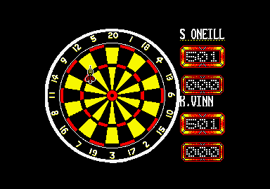 Jocky Wilson's Darts Challenge Amstrad CPC At the oche.