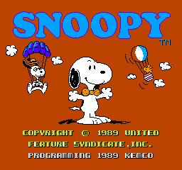 Snoopy's Silly Sports Spectacular NES Title Screen