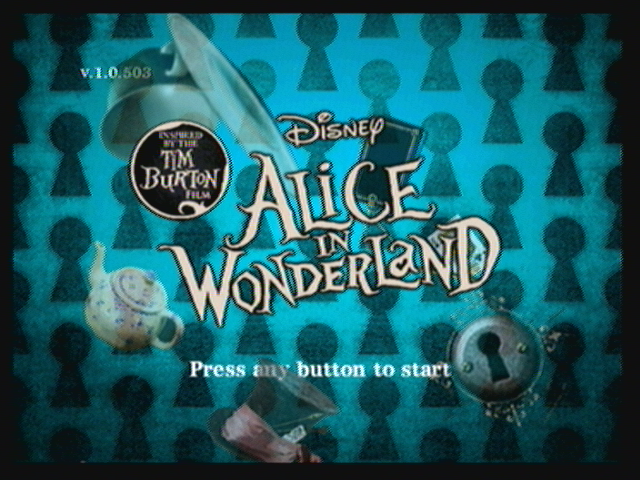 Alice in Wonderland: An Adventure Beyond the Mirror Zeebo Title screen.