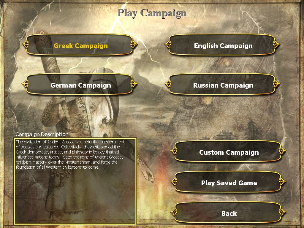 Empire Earth Windows Campaign menu: 4 to choose from (+ tutorial)