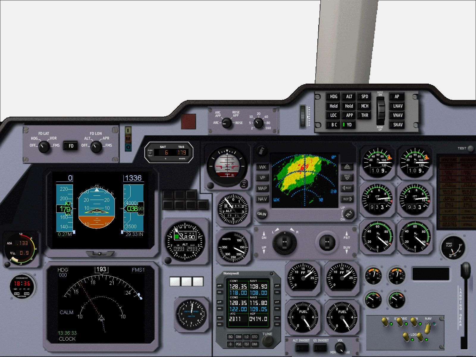Executive Windows The Hawker 800 main instrument panel
