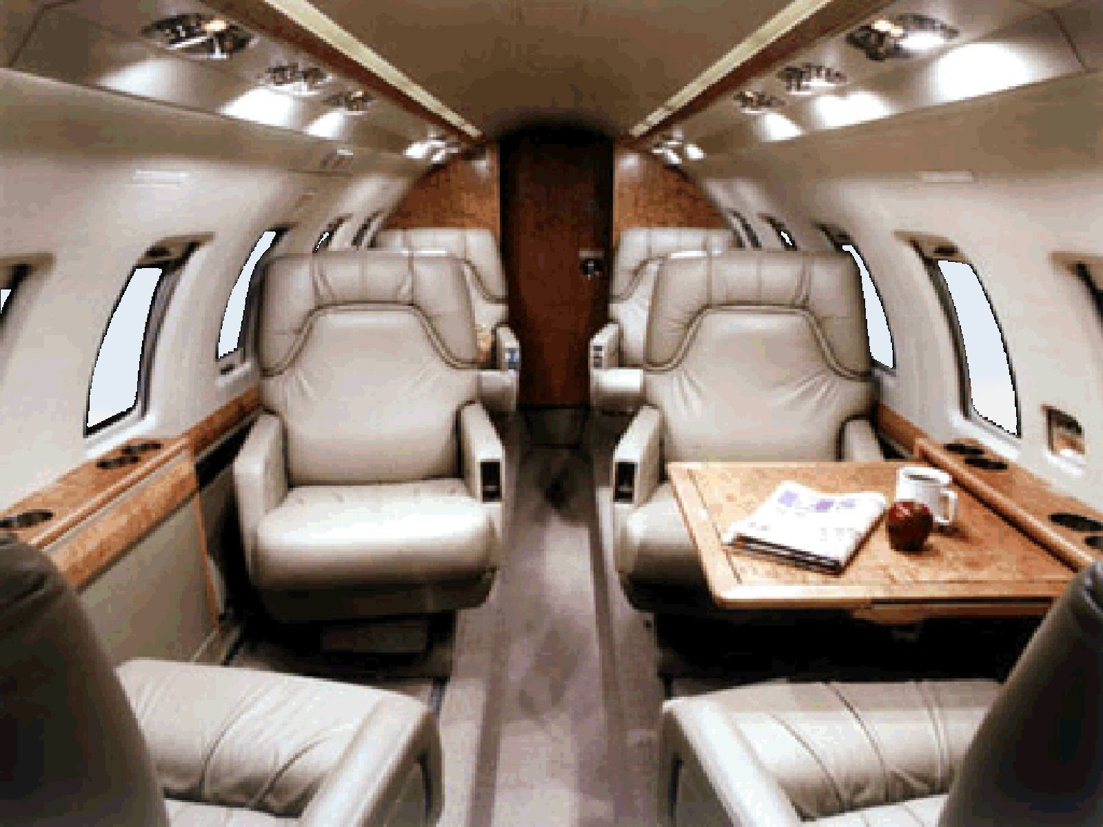Executive Windows The Hawker 800 showing the internal view of the passenger area