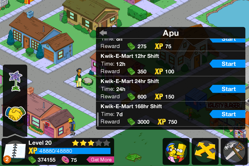The Simpsons: Tapped Out iPhone Apu's options