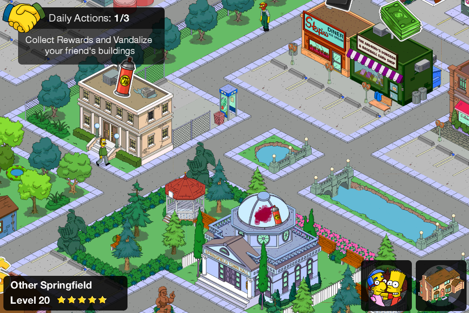 The Simpsons: Tapped Out iPhone Vandalize your «friend»'s buildings