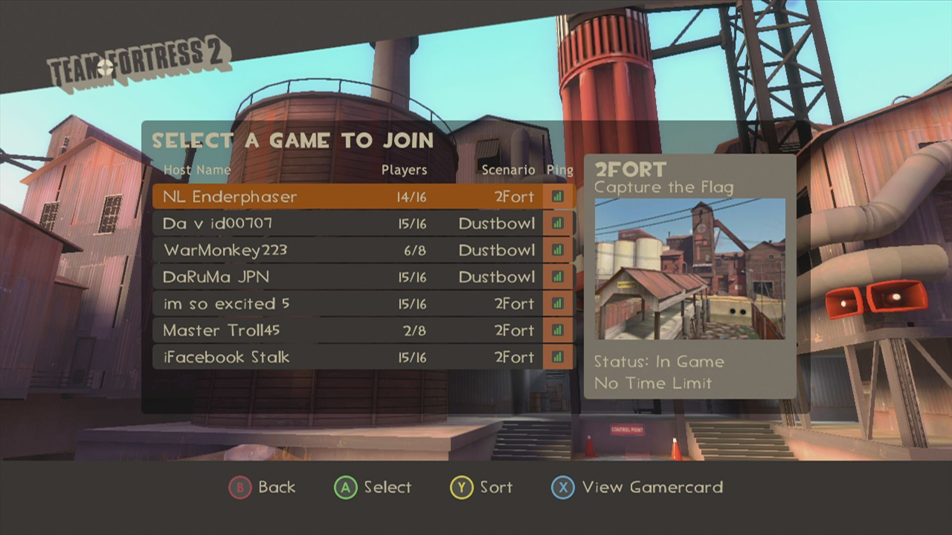 The Orange Box Xbox 360 <i>Team Fortress 2</i>: since <i>Team Fortress</i> is a multiplayer game, you have to select from a list of sessions to join