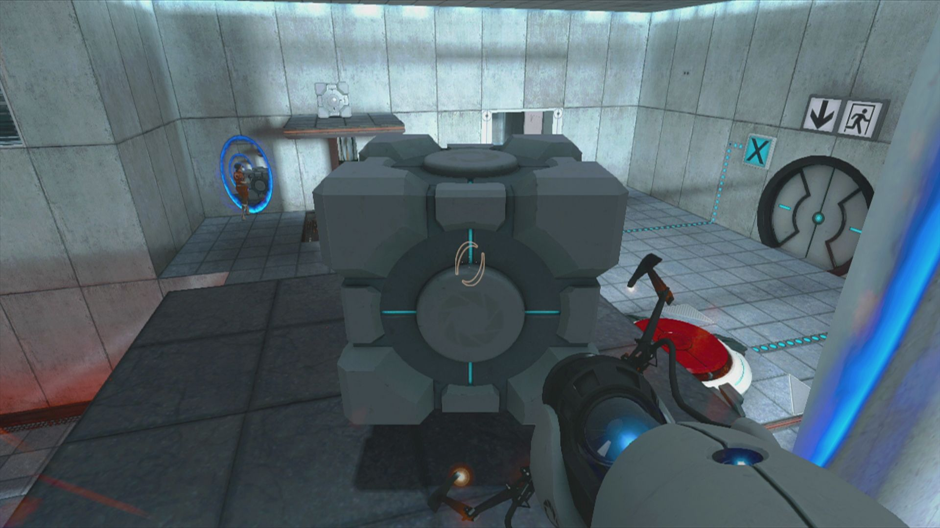 The Orange Box Xbox 360 <i>Portal</i>: the game is puzzle driven, like placing those cubes on those big red buttons