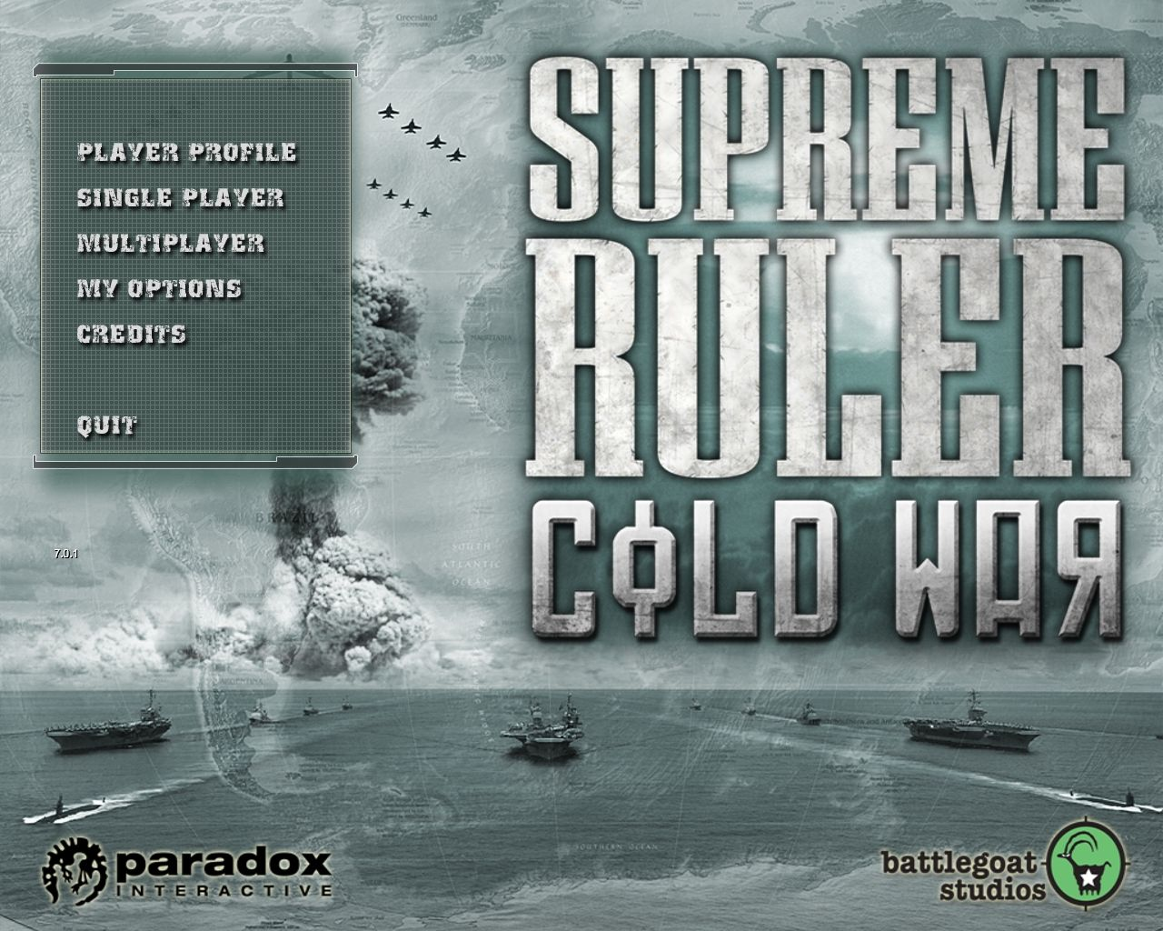 Supreme Ruler: Cold War Windows Main Menu.