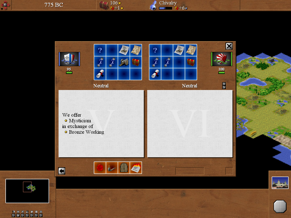 C-evo Windows The AI eagerly engages in diplomatic efforts early in the game, trying to trade technologies with the player - sometimes, although not very often, to the player's benefit.